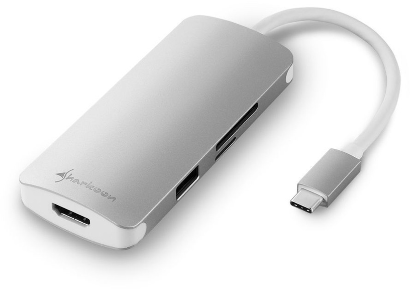 Sharkoon USB 3.0 Type-C Multiport Adapter Silver