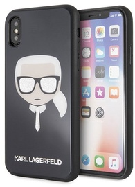 Karl Lagerfeld Iconic Glitter Karls Head Back Case For Apple iPhone X/XS Black