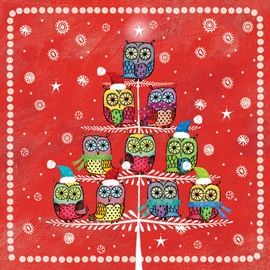 Paw Decor Collection Winter Owlies Red 25 x 25cm