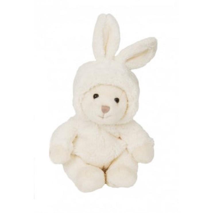 Pliušinis žaislas Bukowski Bear-With Rabbit Hat White, 15 cm