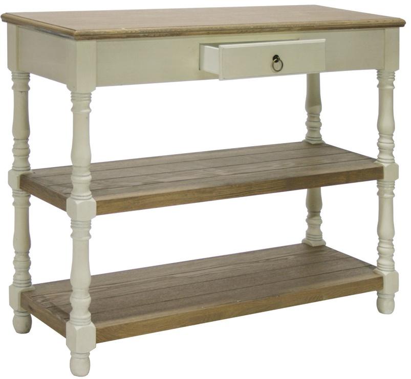 Kafijas galdiņš Home4you Samira, brūna/balta, 970x350x800 mm