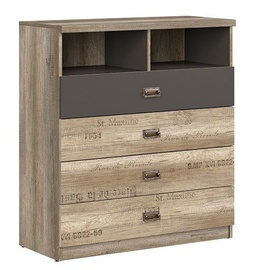 Black Red White Melton Chest Of Drawers Monument Oak/Grey