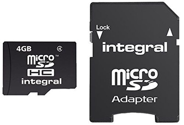 Integral 4GB MicroSDHC Class 4 + Adapter
