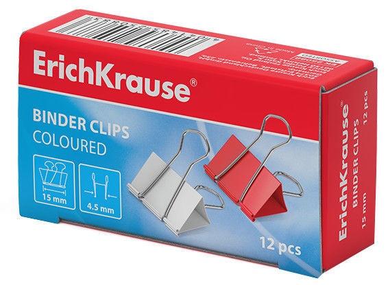 ErichKrause Binder Clips Coloured 15mm 12pcs