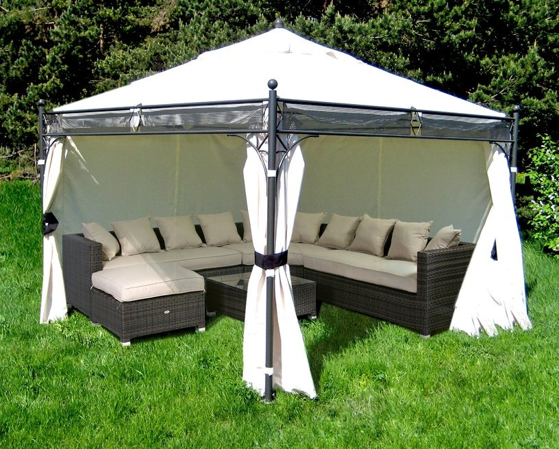 Home4you Shanghai Garden Gazebo 3.5x3.5m Black/Beige