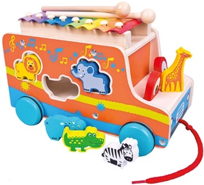 Bino Wooden Car With Animals And Xylophone
