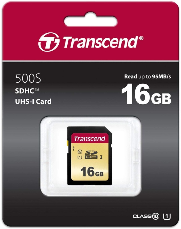 Transcend 500S 16GB SDHC CL10 UHS-I TS16GSDC500S