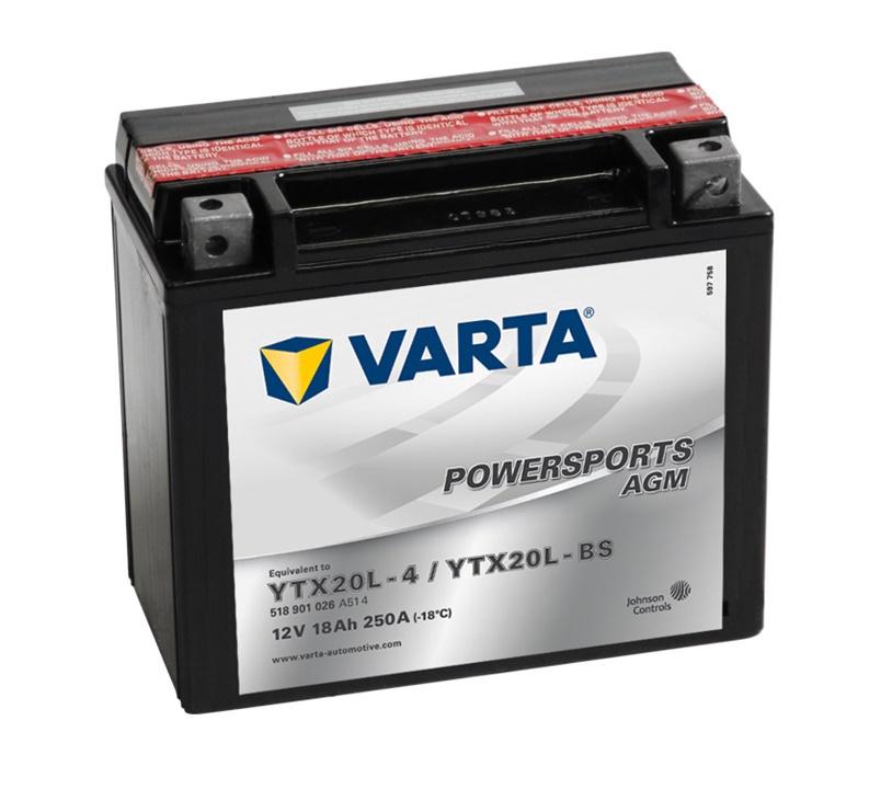Akumulators Varta Powersports AGM YTX20L-BS / YTX20L-4, 12 V, 18 Ah, 250 A