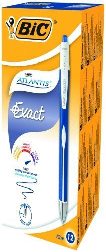 BIC Atlantis Exact 0.3mm Ballpoint Pens Blue 12pcs