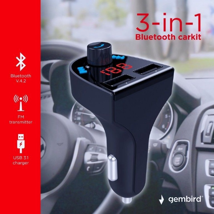 Gembird BTT-03 Bluetooth FM Transmitter With USB Charger Black