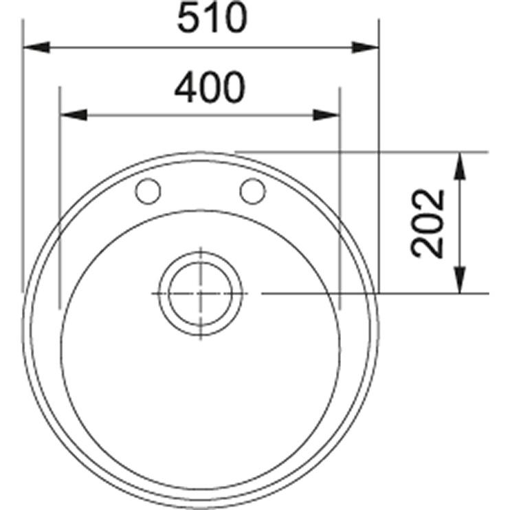 Раковина Franke Ronda ROG 610-41, 510 мм x 510 мм x 195 мм