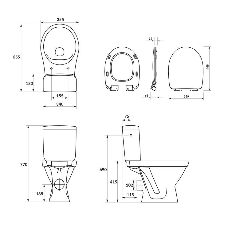 Tualete Cersanit Prado 010 3/6 Simple On K11-2340, ar vāku, 350 mm x 650 mm