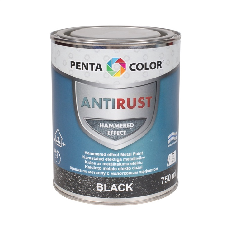 Universalūs kaldinto metalo efekto dažai Pentacolor, juodi, 0.75 l