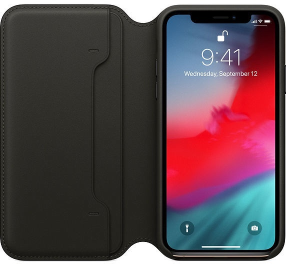 Apple Leather Folio Case For Apple iPhone XS Black