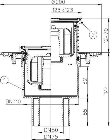 H&L DN75/100 Primus Trap 123x123 Vertical