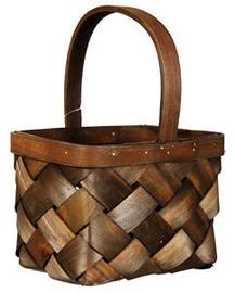 Verners Wood Basket 19x13x16/25cm Dark Brown
