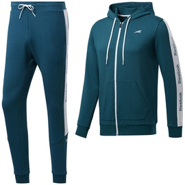 Reebok Mens TE Linear Logo French Terry Tracksuit FP8157 Turquoise S