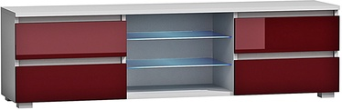TV staliukas Pro Meble Milano 150 With Light White/Red, 1500x350x420 mm