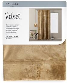 Öökardin AmeliaHome Velvet Pleat, pruun, 1400x2700 mm