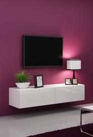 TV staliukas Cama Meble Vigo 140 White/White Gloss, 1400x300x400 mm