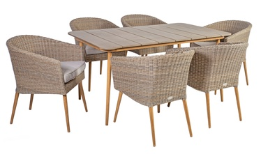 Home4you Norway Table And 6 Chairs Set Beige