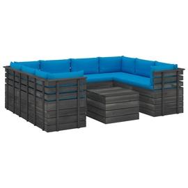 Välimööbli komplekt VLX 9 Piece Pallet Lounge Set With Cushions, sinine/hall, 8 istekohta