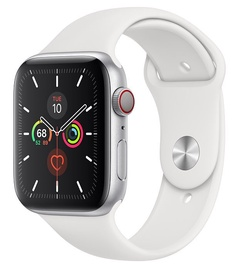 Apple Watch Series 5 44mm Silver Aluminum Case with White Band Cellular