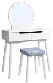 Kosmētikas galds Songmics Vasagle, balta, 80x40x130.5 cm, with mirror