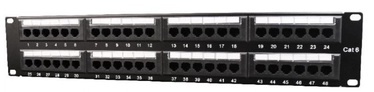 Gembird Patch Panel 19'' CAT6 24-Port Black