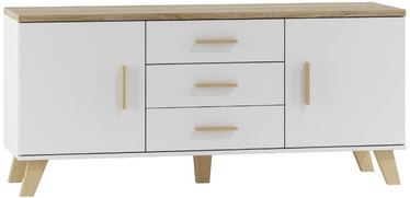 TV galds Cama Meble Lotta 150 2D3S White/Sonoma Oak, 1500x450x690 mm