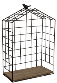 Home4you Wall Shelf Bird Cage Black Large