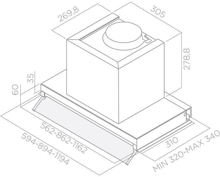 Įmontuojamas gartraukis Elica Box In Plux IXGL/A/90