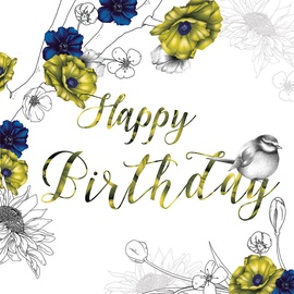 Clear Creations Royal Blue & Mustard Birthday Card CL1410