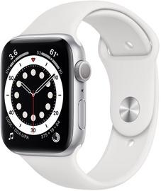 Išmanusis laikrodis Apple Watch Series 6 GPS LTE + Cellular, 44mm Aluminum White Sport Band, sidabro
