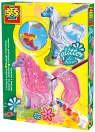 Ģipša figūru veidošanas komplekts SES Creative Glitter Hair Horses Casting And Painting Set 01272