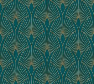 Flizelino pagrindo tapetas As Creation 374275 New Walls žalias su auksu geometrinėmis figūromis