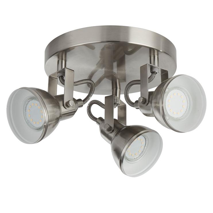 Retro stiliaus kryptinis šviestuvas Searchlight Focus 1543SS, 3 x 10W GU10