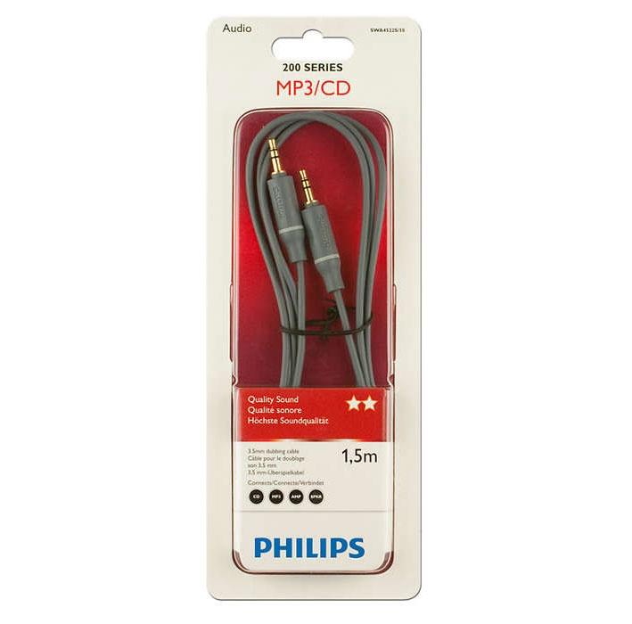 Juhe Philips Kaabel 3.5mm-3.5mm 1.5m philips swa4522s, 3.5 mm male / 3.5 mm male