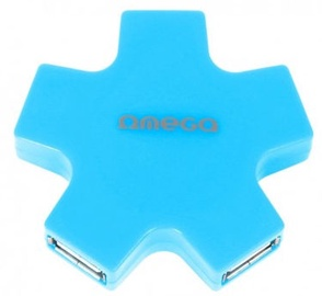 Omega USB Hub 1 x 5 Splitter Box Blue