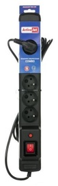 ActiveJet Surge Protector 6 Outlet Black 2.5m