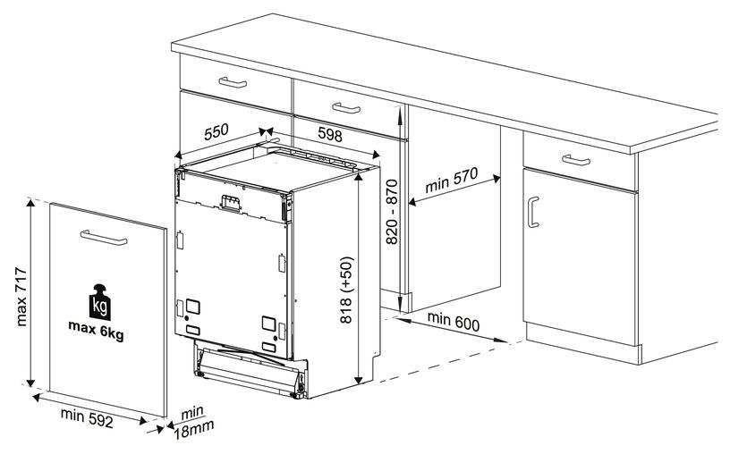 Įmontuojama indaplovė Beko DIN25411