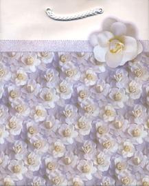 Подарочный пакет, белый/фиолетовый, 125 мм x 90 мм x 200 мм