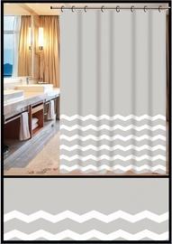 Vannas istabas aizkars Home Accents ZHY049-1, balta/pelēka, 1800 mm x 1800 mm