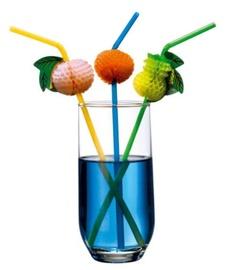 Susy Card Cocktail Straws Fruit Decor 24cm 10pcs