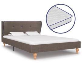 Кровать VLX Fabric 277331, коричневый, 207x125 см, с матрасом, с решеткой