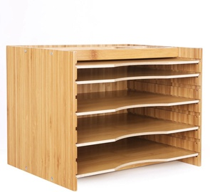 Songmics Wooden Bamboo File Storage