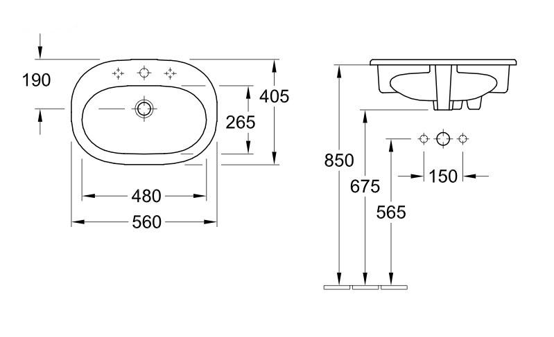 Раковина Villeroy & Boch O.Novo 560x405mm Washbasin White