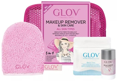 Glov Travel Set Pink Quick Treat + 40g Magnet Cleanser + On The Go Glove + Cosmetic Bag