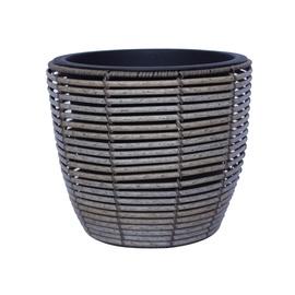 Home4you Wicker Flowerpot D33x28cm Grey