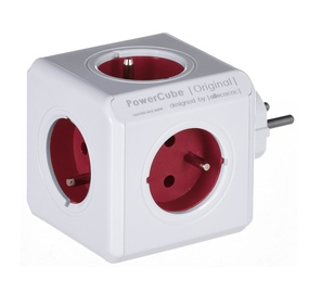 Allocacoc PowerCube Original Power Extension White/Red